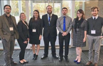 Мembers of SRU's 2017 Central Regional Ethics Bowl competition team. From left are Andrew Winters, Maggie Calvert, Caitlyn Kilmer, Connor Griffith, Anthony Tomasi, Elise Farrell and Tristan Hyde.